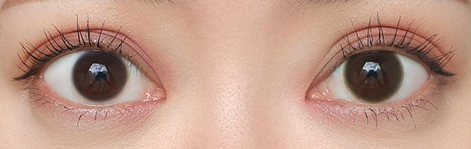 ヴォクトリアワンデー_ベルベットモカ_裸眼との比較