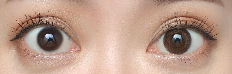 ネオサイトツーウィークシエルUV_ブラウン_裸眼比較
