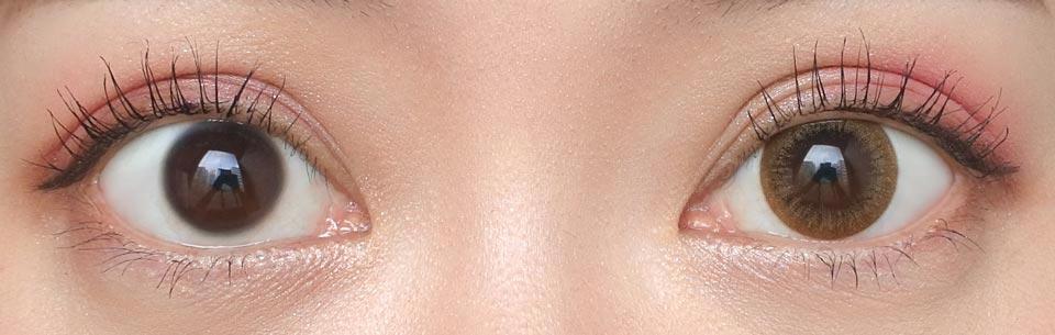 デコラティブアイズUV&moist_No.6ハグミーキス_裸眼比較